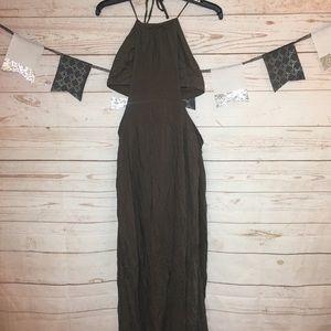 TOBI Olive Green Strappy Halter Maxi Dress Size S